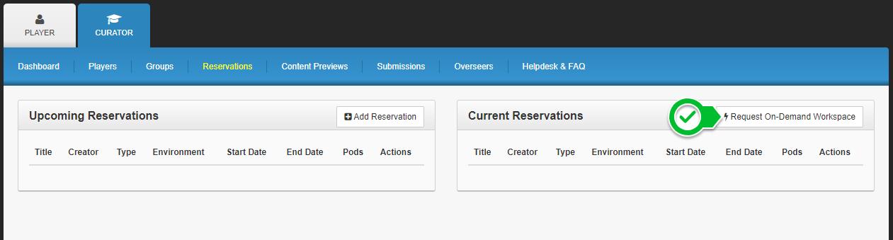 On-Demand Workspace UI Screenshot