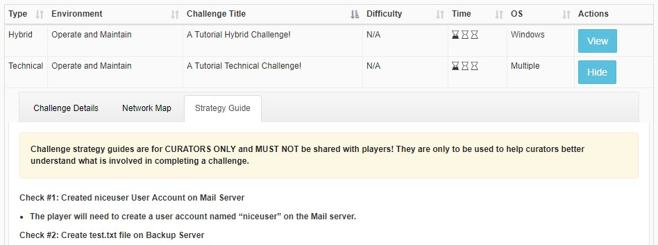 Challenge Strategy Guide UI Screenshot